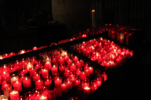 Votive candles in Notre Dame, Paris