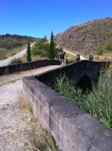 A medieval bridge on the Camino de Santiago in Spain